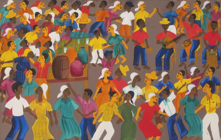 People with dark skin in brightly colored clothing dance together at a party