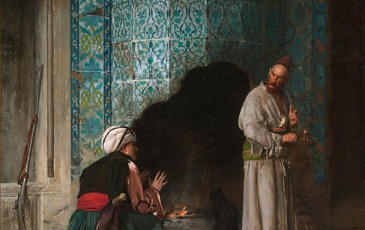 A Chat by the Fireside by Jean-Léon Gérôme