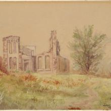 <a href='http://collection.spencerart.ku.edu/eMuseumPlus?service=ExternalInterface&module=collection&objectId=643&viewType=detailView' target='_blank'><i>Old North College, K.U.</i> by John T. Moore</a>