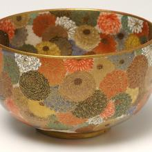 <a href='http://collection.spencerart.ku.edu/eMuseumPlus?service=ExternalInterface&module=collection&objectId=4220&viewType=detailView' target='_blank'><i>bowl with chrysanthemums</i> by Miyagawa Kōzan</a>