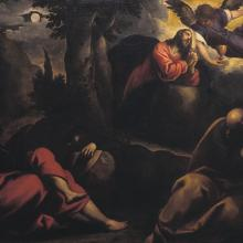 <a href='http://collection.spencerart.ku.edu/eMuseumPlus?service=ExternalInterface&module=collection&objectId=9289&viewType=detailView' target='_blank'><i>Christ in Gethsemane</i> by Jacopo Palma il Giovane</a>
