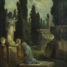 <a href='http://collection.spencerart.ku.edu/eMuseumPlus?service=ExternalInterface&module=collection&objectId=9851&viewType=detailView' target='_blank'><i>Jardin des Monuments (A Mother Weeping in a Cemetery)</i> by Hubert Robert</a>