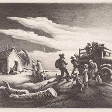 <a href='http://collection.spencerart.ku.edu/eMuseumPlus?service=ExternalInterface&module=collection&objectId=10047&viewType=detailView' target='_blank'><i>Departure of the Joads</i> by Thomas Hart Benton</a>