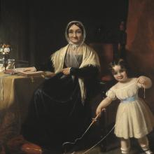 <a href='http://collection.spencerart.ku.edu/eMuseumPlus?service=ExternalInterface&module=collection&objectId=10193&viewType=detailView' target='_blank'><i>Mrs. Stiles and Grandchild</i> by Samuel Bell Waugh</a>