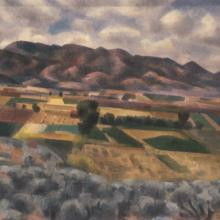 <a href='http://collection.spencerart.ku.edu/eMuseumPlus?service=ExternalInterface&module=collection&objectId=10955&viewType=detailView' target='_blank'><i>Taos Valley</i> by Andrew Michael Dasburg</a>