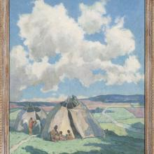 <a href='http://collection.spencerart.ku.edu/eMuseumPlus?service=ExternalInterface&module=collection&objectId=12256&viewType=detailView' target='_blank'><i>Apache Indian Camp in Taos Valley</i> by Eanger Irving Couse </a>