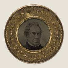 <a href='http://collection.spencerart.ku.edu/eMuseumPlus?service=ExternalInterface&module=collection&objectId=12352&viewType=detailView' target='_blank'><i>Bell and Everett campaign medal for 1860 Presidential campaign</i> by United States</a>