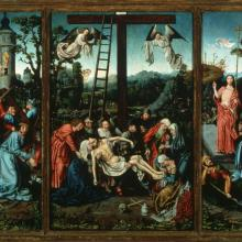<a href='http://collection.spencerart.ku.edu/eMuseumPlus?service=ExternalInterface&module=collection&objectId=15363&viewType=detailView'><i>Descent from the Cross with Scenes from the Passion,</i> by Master of Frankfurt Workshop</a>