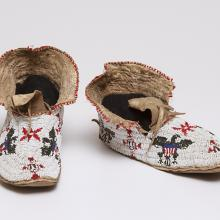 <a href='http://collection.spencerart.ku.edu/eMuseumPlus?service=ExternalInterface&module=collection&objectId=39003&viewType=detailView' target='_blank'><i>pair of beaded moccasins</i> by Sioux peoples</a>