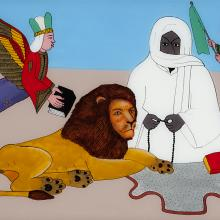 <a href='http://collection.spencerart.ku.edu/eMuseumPlus?service=ExternalInterface&module=collection&objectId=42243&viewType=detailView' target='_blank'><i>Amadou Bamba calming the lion in the desert</i> by Mor Gueye</a>