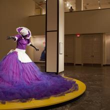 <a href='http://collection.spencerart.ku.edu/eMuseumPlus?service=ExternalInterface&module=exhibition&objectId=1104&viewType=detailView' target='_blank'><i>Mary Sibande and Sophie Ntombikayise Take Central Court</i> Installation Image</a>