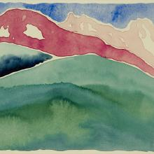 <a href='http://collection.spencerart.ku.edu/eMuseumPlus?service=ExternalInterface&module=collection&objectId=12649&viewType=detailView' target='_blank'><i>Pink and Green Mountains, No. 1</i> by Georgia O'Keeffe</a>