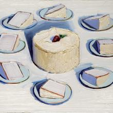 "<a href=""https://spencerartapps.ku.edu/collection-search#/object/14675"" target=""_blank""><i>Around the Cake</i> by Wayne Thiebaud</a>"