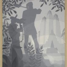 <a href='http://collection.spencerart.ku.edu/eMuseumPlus?service=ExternalInterface&module=collection&objectId=30270&viewType=detailView' target='_blank'><i>The Founding of Chicago</i> by Aaron Douglas</a>