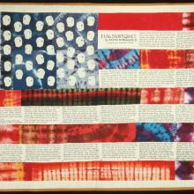 <a href='http://collection.spencerart.ku.edu/eMuseumPlus?service=ExternalInterface&module=collection&objectId=17289&viewType=detailView' target='_blank'><i>Flag Story Quilt</i> by Faith Ringgold</a>