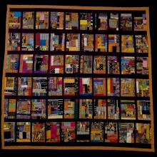 <a href='http://collection.spencerart.ku.edu/eMuseumPlus?service=ExternalInterface&module=collection&objectId=30089&viewType=detailView' target='_blank'><i>East Side quilt</i> by Sonie Joi Ruffin</a>