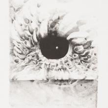 "<a href=""https://spencerartapps.ku.edu/collection-search#/object/46480"" target=""_blank""><i>Eighth Stone</i> by Lee Bontecou</a>"