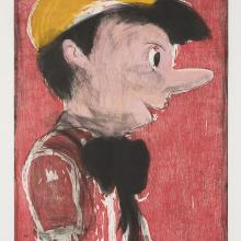 "<a href=""https://spencerartapps.ku.edu/collection-search#/object/48934"" target=""_blank""><i>Pinocchio's Black Tie</i> by Jim Dine</a>"