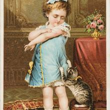 <a href='http://collection.spencerart.ku.edu/eMuseumPlus?service=ExternalInterface&module=collection&objectId=56401&viewType=detailView' target='_blank'><i>trade card, child and cat (naughty puss), Jayne's Tonic Vermifuge</i>, Sarony, Major, & Knapp, printer</a>