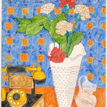 <a href='http://collection.spencerart.ku.edu/eMuseumPlus?service=ExternalInterface&module=collection&objectId=25830&viewType=detailView' target='_blank'><i>Red and White Carnations</i> by Janice Atkins</a>