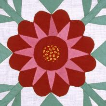 <a href='https://spencerartapps.ku.edu/collection-search#/object/8703' target='_blank'><i>Sadie's Choice Rose quilt block</i> by Carrie A. Hall</a>