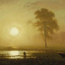 <a href='https://spencerartapps.ku.edu/collection-search#/object/10190' target='_blank'><i>Sunset on the Plains</i> by Albert Bierstadt</a>