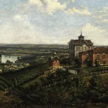 <a href='https://spencerartapps.ku.edu/collection-search#/object/10527' target='_blank'><i>View of Old North College</i> by James Hess</a>